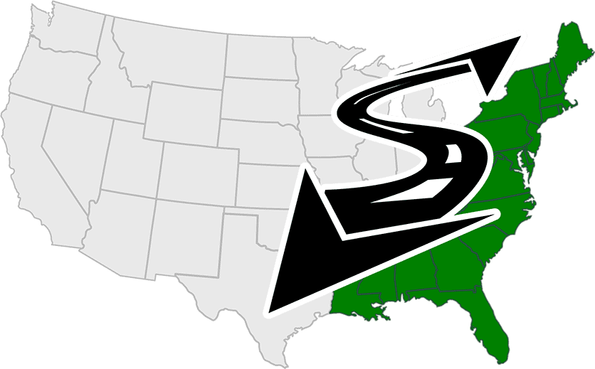 Custom US map graphic highlighting the entire East Coast in green reflecting the service area